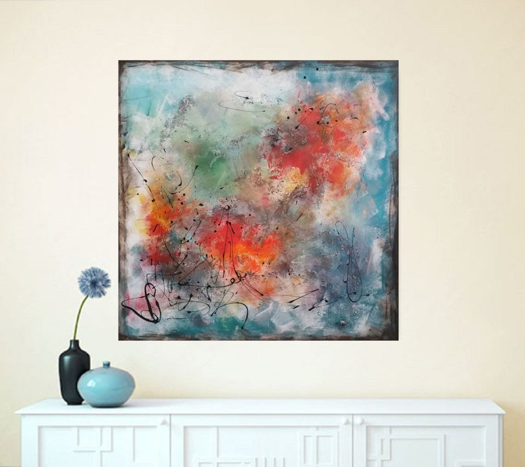 """37,5 by 37,5""""(95x95cm) ,""""Space Energy 3 '',  square abstract painting - Image 0"""