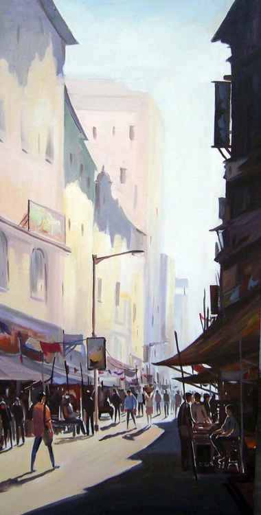 Morning Market Lane-Acrylic on Canvas painting -