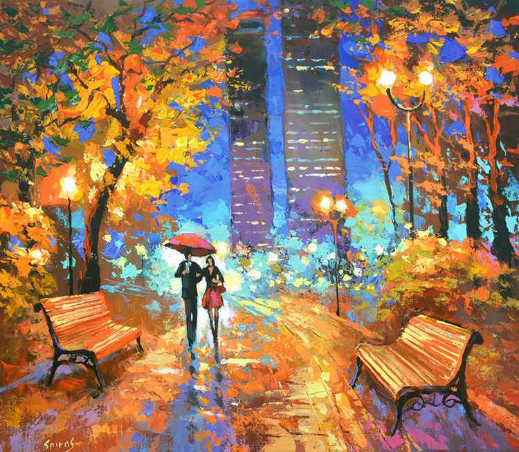 Nocturnal fragrance - Original Oil acr. palette knife Painting, Size: 70cmx60cm