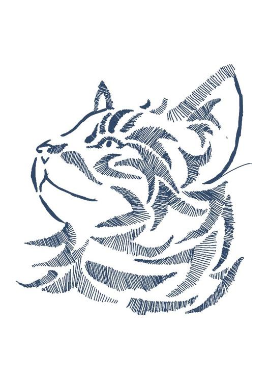 Blue Cat 8 x 10 Drawing - Image 0