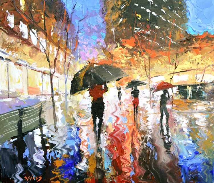 Rain in city - Landscape OIL PALETTE KNIFE Painting on canvas by Dmitry Spiros. Size: 38cm x  44cm