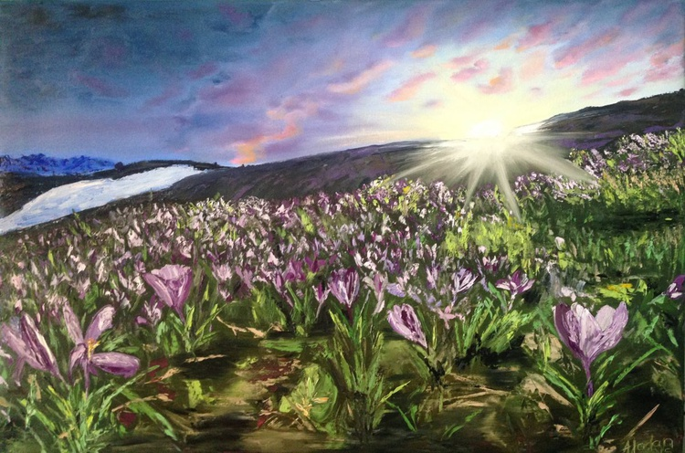 Spring flowers at the sunset 20*30 - Image 0