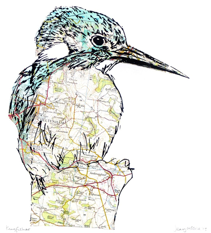 Kingfisher screen print with vintage map - Image 0
