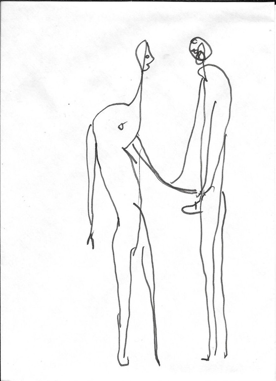 Surrealist Lovers, drawing on an envelope #6,  17x12 cm - Image 0
