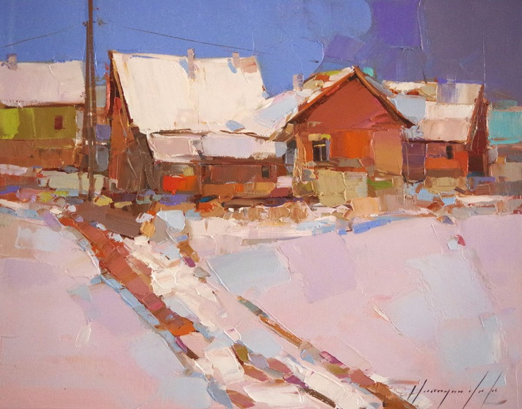 Landscape Oil painting, Winter, Village, One of a kind, Signed with Certificate of Authenticity - Image 0