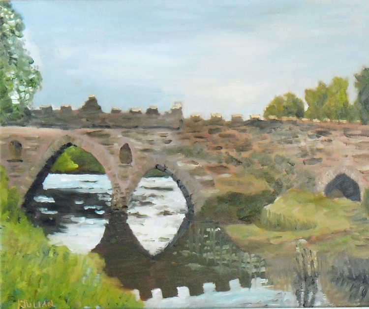 Water under the Bridge, - An original oil painting in a hardwood frame! Ready to Hang! - Image 0
