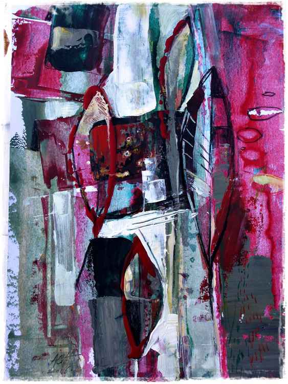red - green abstract painting