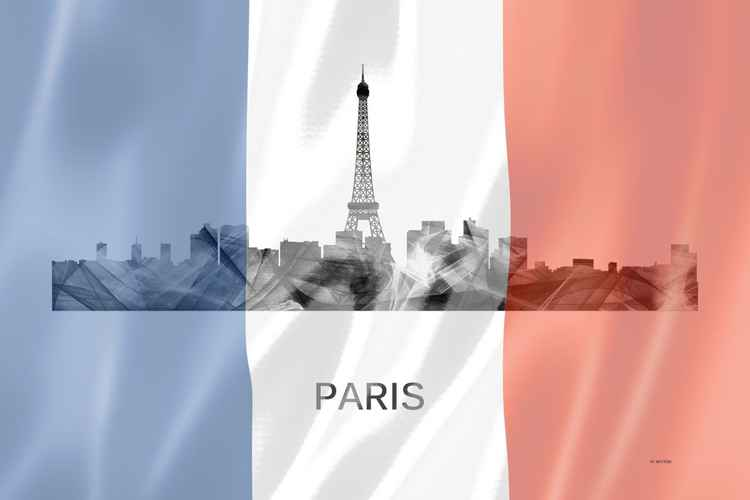 Paris, France Skyline WB BW with French Flag -