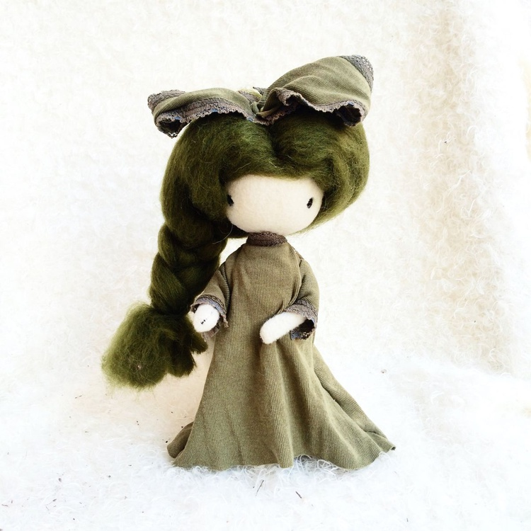 Ooak Doll with unique cloth green dress - Image 0