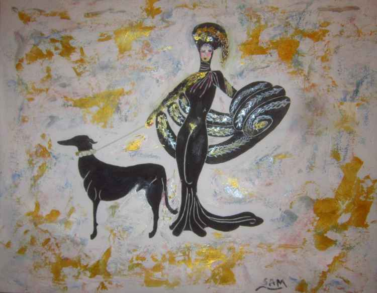 Exotic Lady with a designer dog -