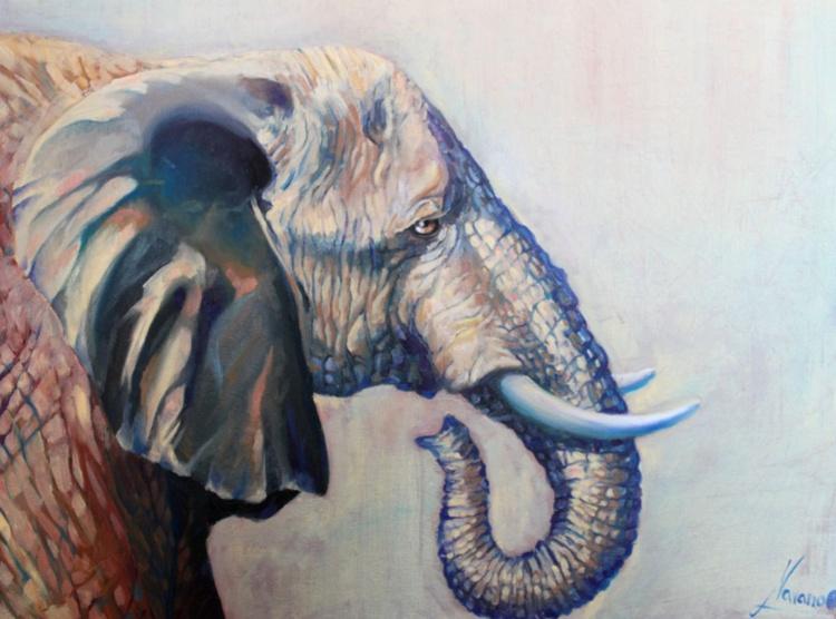 "Elephant art, african art ""Beautiful Giant"" - Image 0"