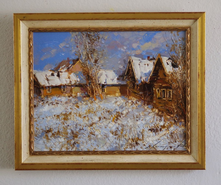 Landscape  Winter Original oil painting  Handmade artwork Framed Ready to Hang One of a kind - Image 0