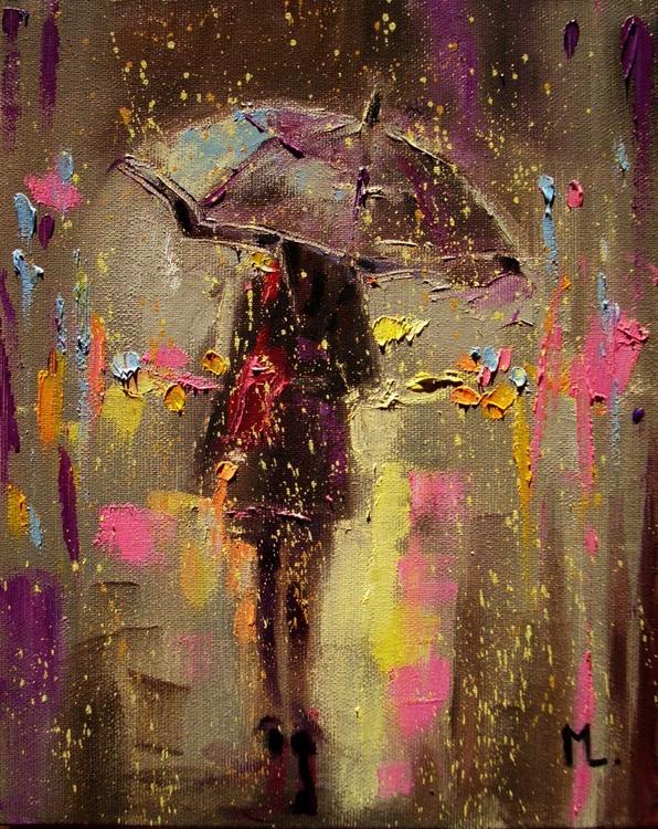 """ 14.02 ... "" original oil painting RAIN COLLORFULL VALENTINES DAY :)) - Image 0"