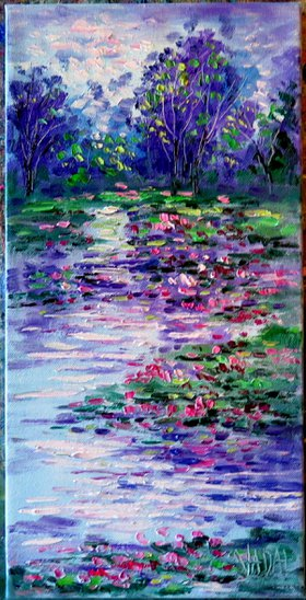 Purple Trees and Lilly Pad Pond  -Oil Painting by Jean Vadal  Smith -  Bentson