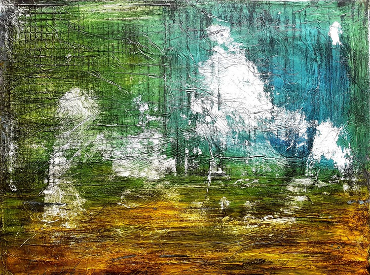 Old prairie (n.222) - abstract landscape - 80 x 60 x 2,50 cm - ready to hang - acrylic painting on stretched canvas - Image 0