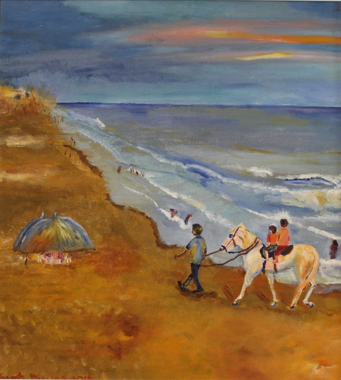 Puri beach 1, India, oil painting, Impressionistic, gift, ready to hang, small, framed - Image 0