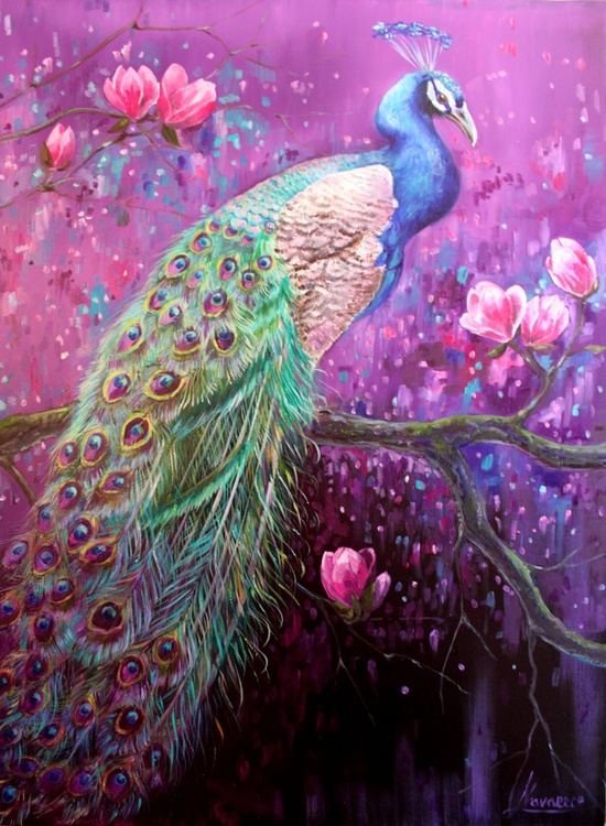 "Original abstract oil painting of a peacock, ""Peacock on Magnolia Tree"" - Image 0"