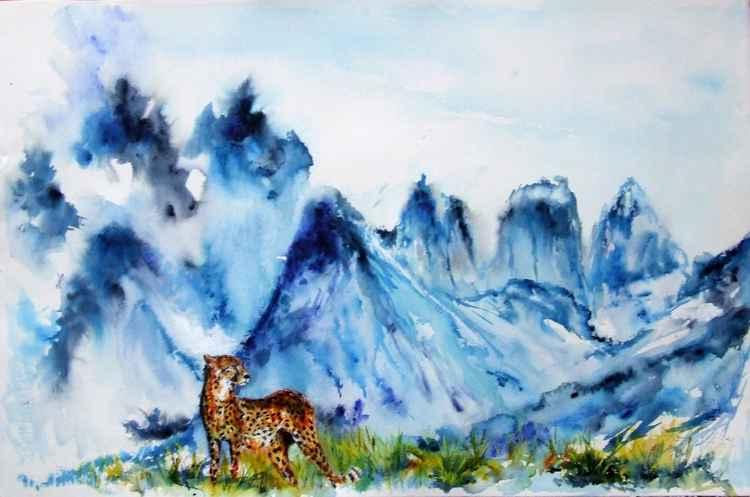 Looking for prey / Watercolour Cheetah in African Savannah -