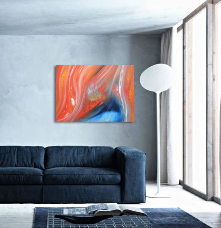 Flares up - 70x50 cm,  Original abstract painting, oil on canvas - Image 0
