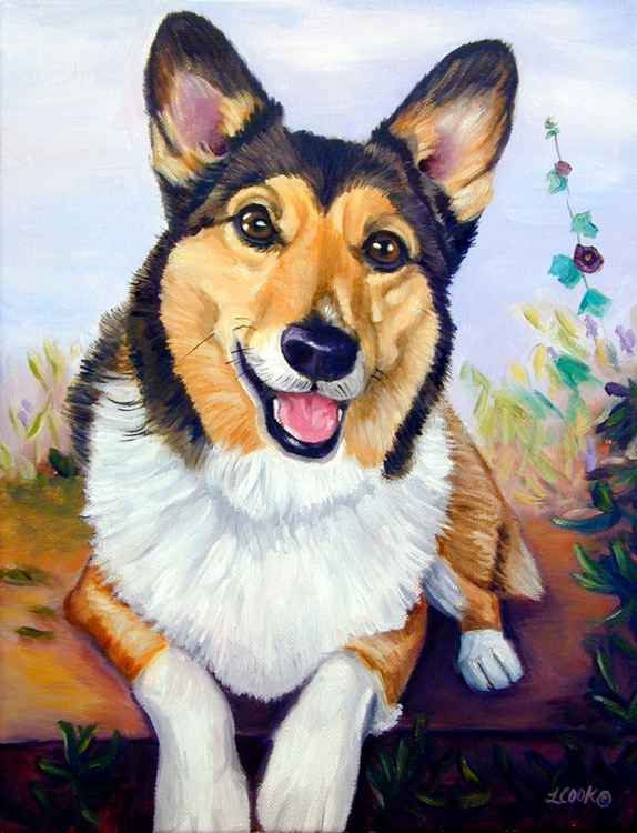 Pembroke Welsh Corgi Dog Original Fine Art Oil Painting