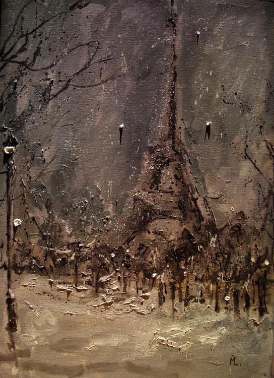 """ NIGHT IN PARIS ... "" original oil painting PALETTE KNIFE - Image 0"