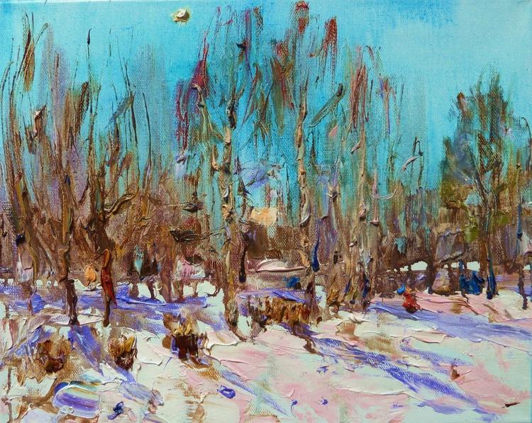 Winter sun, oil painting 50 x40 cm - Image 0