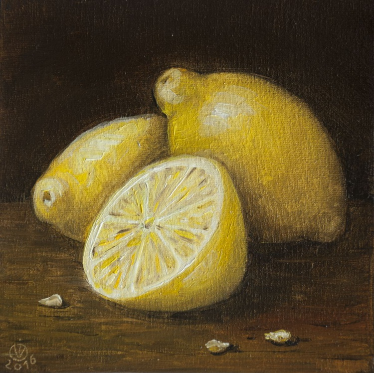Lemons (15x15cm) original oil painting still life realistic vintage style small gift kitchen decor - Image 0