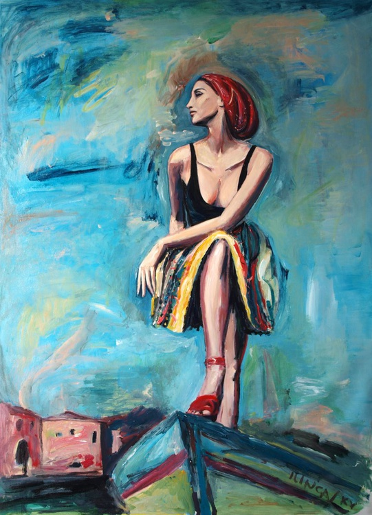 leaving the village (woman portrait study, 48 x 34.6 in) - Image 0