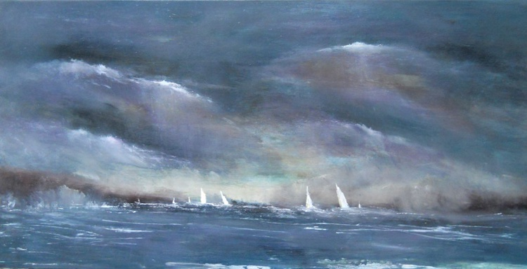Twilight on Carrick Roads Cornwall ~ English Impressionist Painter - Image 0