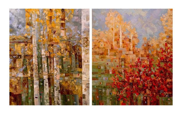 Autumn trees, diptych - Image 0