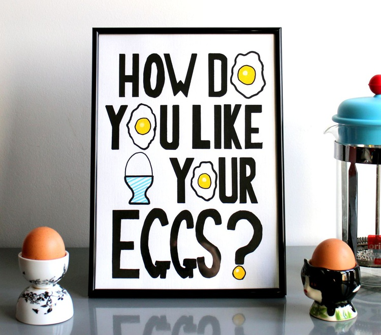How Do You Like Your Eggs? Text Art Acrylic Painting On A4 Paper - Image 0
