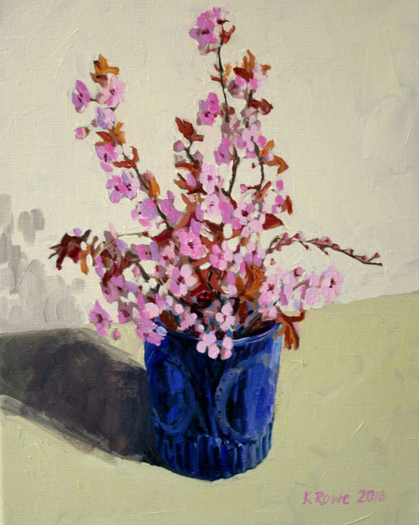 Cherry blossom in blue glass - Image 0