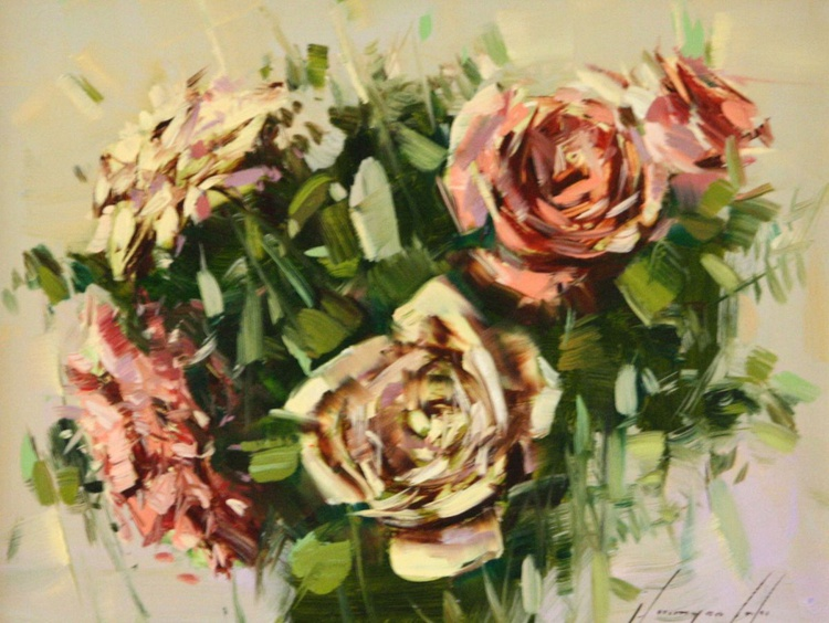 BOUQUET OF ROSES ORIGINAL PAINTING FRAMED - Image 0