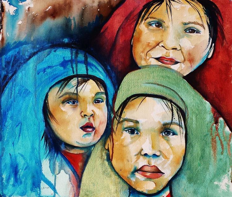 Watercolor Native American children - Image 0