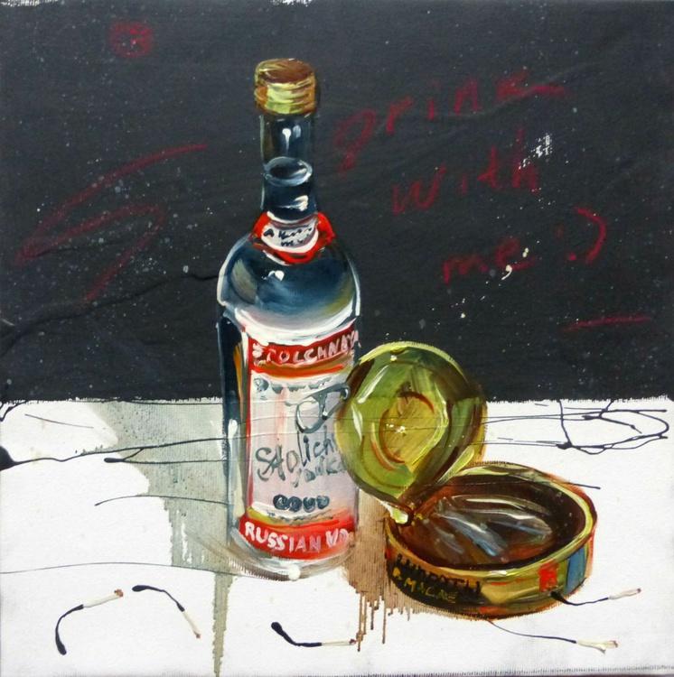Vodka, oil painting 30x30 cm - Image 0