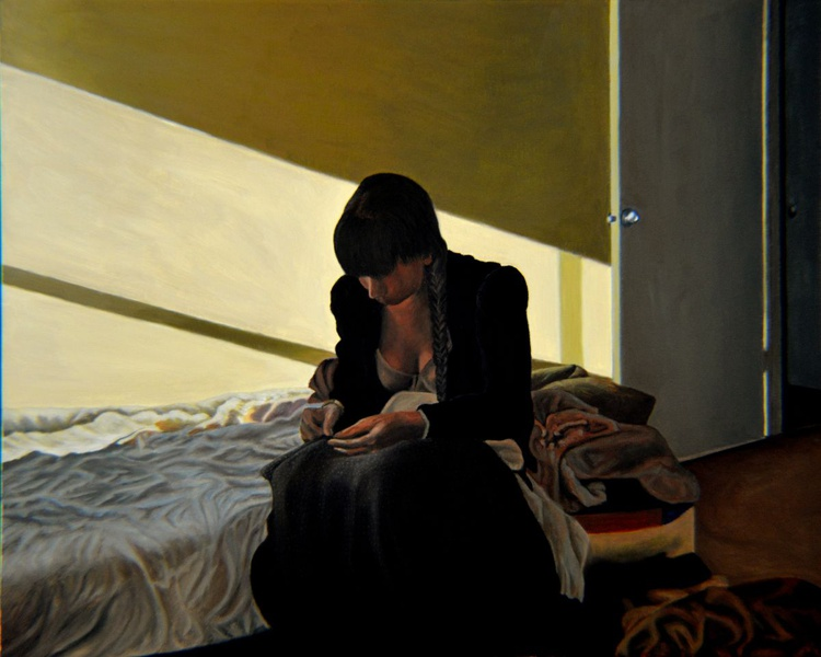 Mending - sewing woman - Edward Hopper inspired - Image 0