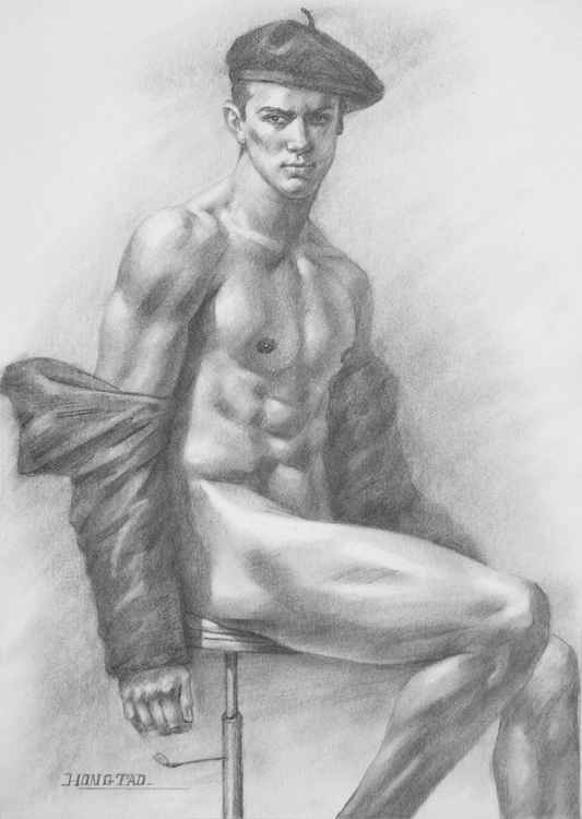 original art drawing charcoal male nude man  on paper #16-4-7-01 -