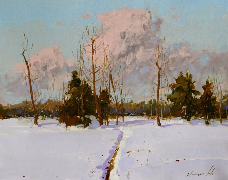 Snow covered Field Original oil Painting - Image 0