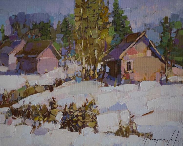 Village Handmade oil Painting on Canvas - Image 0
