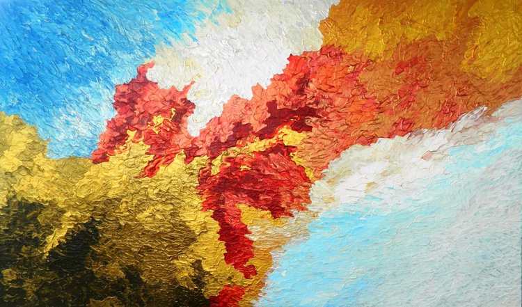 Imperial Blossoms - Original, unique, modern abstract impasto painting with texture - Image 0