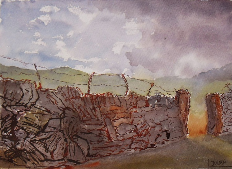 Dry Stone and slate walls - Snowdonia North Wales - An original ink and watercolour painting! - Image 0