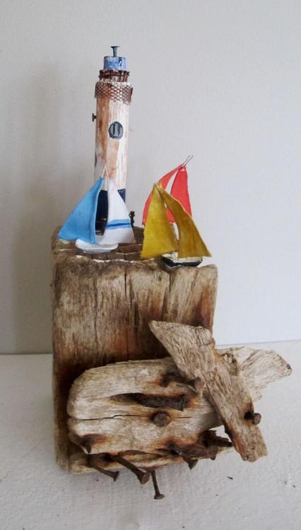 Driftwood Sailing Boat Sculpture - Image 0