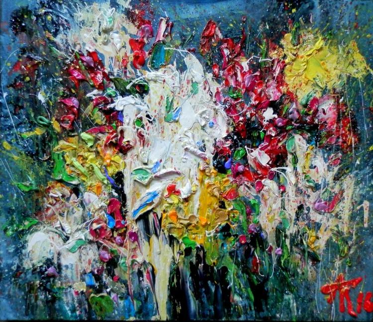 Flowers, oil painting 70x60 cm - Image 0
