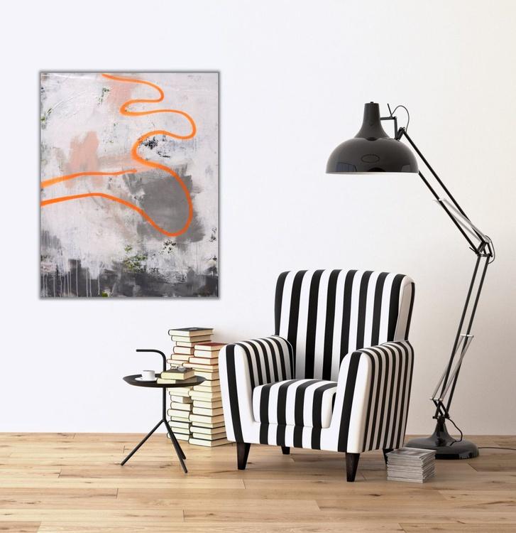 Drift Line | large abstract | white grey orange green | Work No. 2016.40 - Image 0