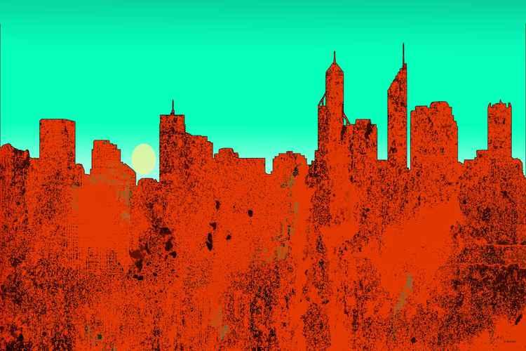 Perth, Western Australia Skyline - RED -