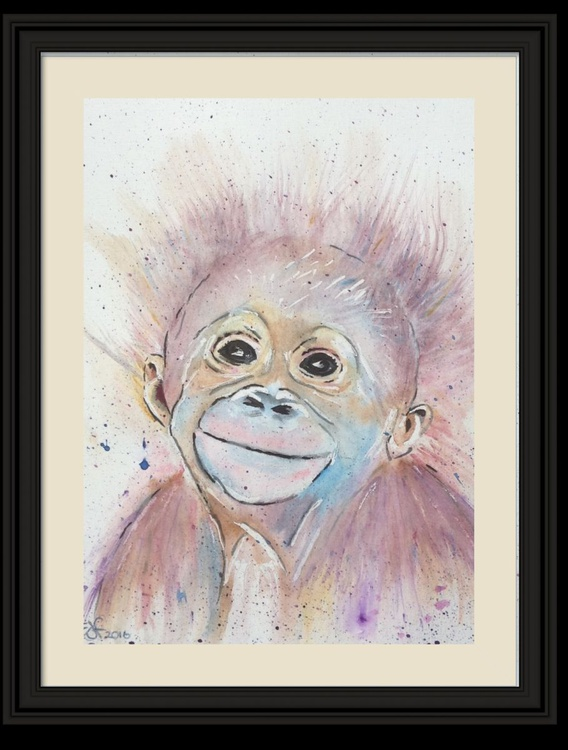 """""""Monkey Business"""" , 11 X 15 inch watercolour mounted ready to frame - Image 0"""