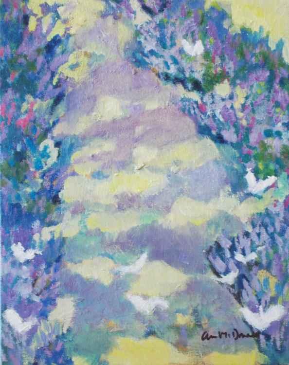 Provencal White Butterflies Visiting Lavender Path