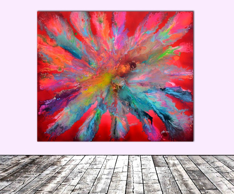 Red Pandora XL Big Painting - Large Painting - Ready to Hang, Hotel and Restaurant Wall Decoration - Image 0