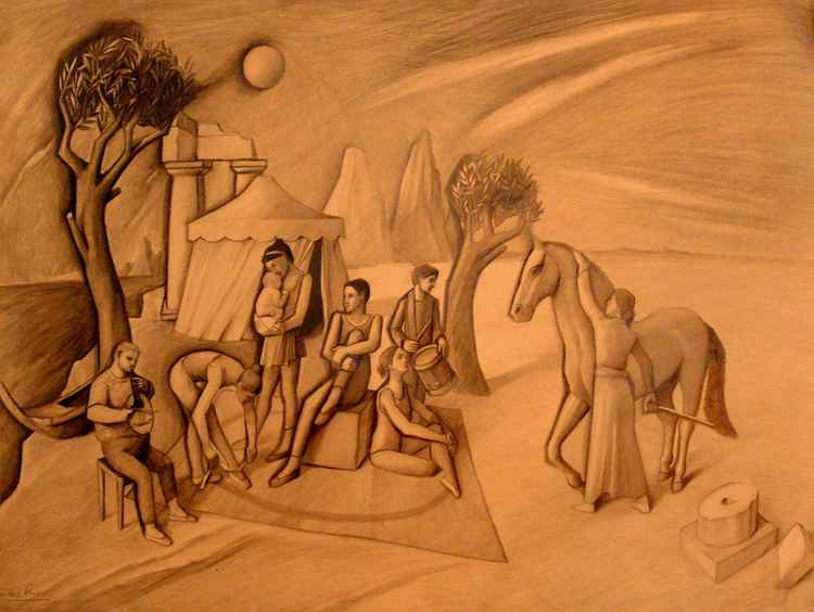 Acrobats In Archaic Landscape -