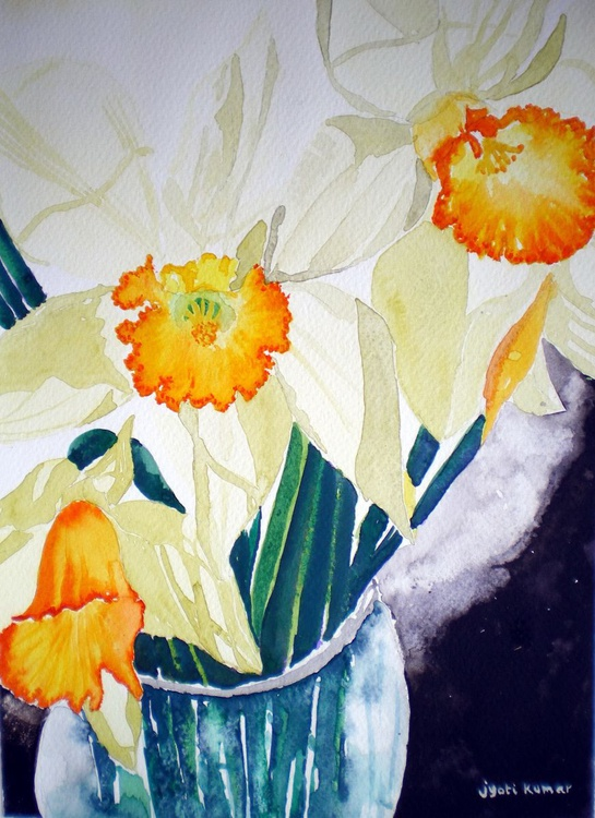 Daffodils in a vase - Image 0